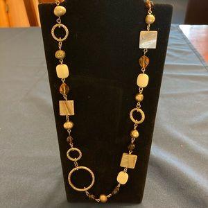 2/$35 Preowned Lia sophia brown cipprioni necklace